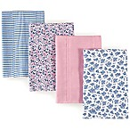 Hudson Baby 4-Pack Floral Burp Cloth Set in Blue