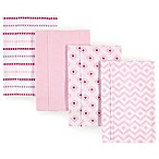 Hudson Baby 4-Pack Chevron Burp Cloth Set in Pink