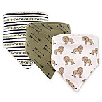 Hudson Baby 3-Pack Lion Bandana Bib Set in Green