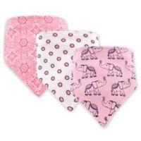 Hudson Baby 3-Pack Elephant Bandana Bib Set in Pink