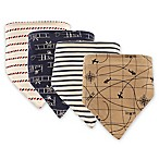 Hudson Baby 4-Pack Plane Bandana Bib Set in Brown