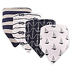 Hudson Baby 4-Pack Sailboat Bandana Bib Set in Blue