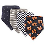 Hudson Baby 4-Pack Fox Bandana Bib Set in Navy