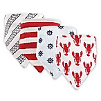 Hudson Baby 4-Pack Cray Bandana Bib Set in Red