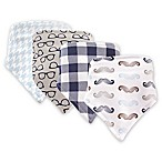 Hudson Baby 4-Pack Mustache Bandana Bib Set in Blue