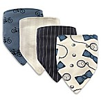 Hudson Baby® 4-Pack Pocket Watch Cotton/Poly Bandana Bibs in Blue