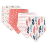 BabyVision® Hudson Baby® 4-Pack Feather Bandana Bibs in Pink