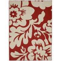 Garland Floral Garden 5-Foot x 7-Foot Area Rug in Coral/Ivory