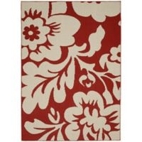 Garland Floral Garden 8-Foot x 10-Foot Area Rug in Coral/Ivory