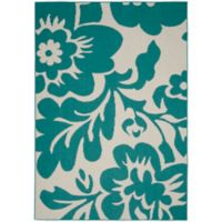 Garland Floral Garden 8-Foot x 10-Foot Area Rug in Teal/Ivory