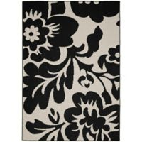Garland Floral Garden 8-Foot x 10-Foot Area Rug in Black/Ivory