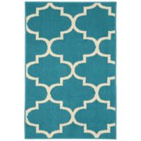 Garland Large Quatrefoil 2-Foot 6-Inch x 3-Foot 10-Inch Accent Rug in Teal/Ivory