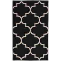 Garland Large Quatrefoil 5-Foot x 7-Foot Area Rug in Black/Silver