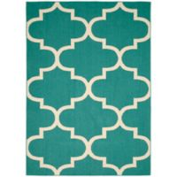 Garland Large Quatrefoil 5-Foot x 7-Foot Area Rug in Teal/Ivory