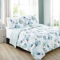 Great Bay Home Seaside Reversible King Quilt Set in Blue/White