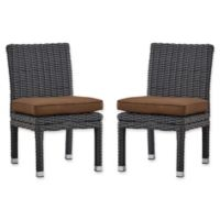 Verona Home Brescia Rattan Dining Side Chair in Charcoal/Brown (Set of 2)