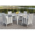 Safavieh Cooley 5-Piece Rattan Dining Set in Stripe Grey/White