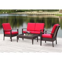 Safavieh Myers 4-Piece Rattan Outdoor Set in Brown/Red