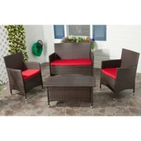 Safavieh Mojavi 4-Piece Wicker Outdoor Set in Red/Brown