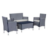 Safavieh Figuerao 4-Piece Rattan Outdoor Set in Navy/White
