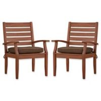 Verona Home Pacific Grove Outdoor Dining Armchairs in Dark Brown (Set of 2)
