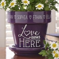 Love Grows Here Flower Pot in Purple