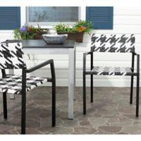 Safavieh Halden All Weather Arm Chair in White/Black