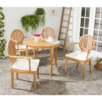 Safavieh Chino Wood 5 Piece Outdoor Dining Set In Teak Brown