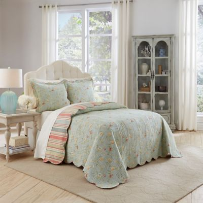 Exceptional Waverly Garden Glitz 3 Piece Reversible King Bedspread Set In Vapor
