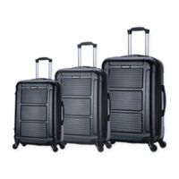 InUSA Pilot 3-Piece Hardside Spinner Luggage Set in Black