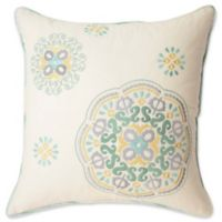 Waverly® Astrid Embroidered Square Throw Pillow in Natural