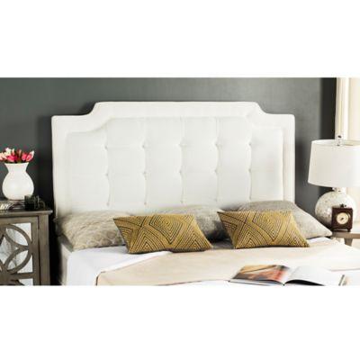 safavieh sapphire tufted velvet upholstered full headboard in white