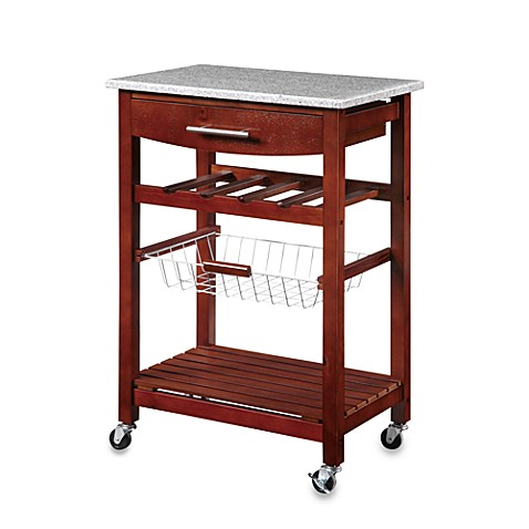 rolling kitchen cart granite rolling kitchen cart in cherry bed bath amp beyond 30561