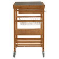Granite Bamboo Rolling Kitchen Cart