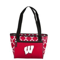 University of Wisconsin Quatrefoil Cooler Tote in Red