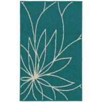 Garland Grand Floral 2-Foot 6-Inch x 3-Foot 10-Inch Accent Rug in Teal/Ivory