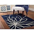 Garland Grand Floral 5-Foot x 7-Foot Area Rug in Indigo/Ivory