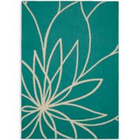 Garland Grand Floral 5-Foot x 7-Foot Area Rug in Teal/Ivory