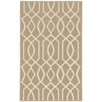 Garland Fretwork 2-Foot 6-Inch x 3-Foot 10-Inch Accent Rug in Tan/Ivory