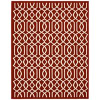 Garland Fretwork 8-Foot x 10-Foot Area Rug in Red/Ivory