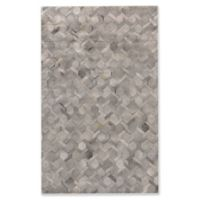 Exquisite Rugs Hexagons Cowhide 5-Foot x 8-Foot Area Rug in Silver
