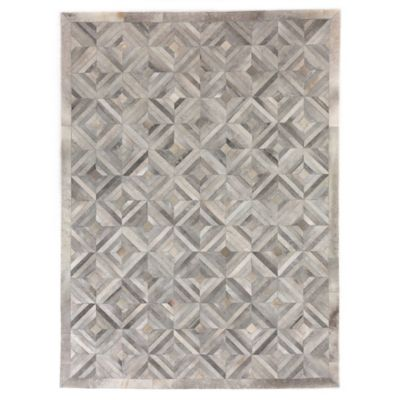 Good Exquisite Rugs Concentric Diamonds Cowhide 8 Foot X 11 Foot Area Rug In  Silver