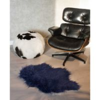 Luxe Mongolian Faux Fur Sheepskin 2-Foot x 3-Foot Accent Rug in Ink