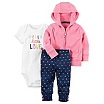 carter's® Size 12M 3-Piece  Little Love  Bodysuit, Zip-Front Jacket, and Pant Set in Pink/Navy