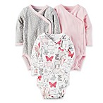 carter's® Preemie 3-Pack Side-Snap Long Sleeve Bodysuits in Pink/Grey