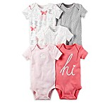 carter's® Newborn 5-Pack Bunny Print Bodysuit in Pink