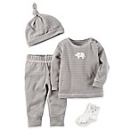carter's® Newborn 4-Piece Elephant Stripe Shirt, Pant, Socks, and Cap Set in Grey