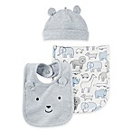 carter's® 3-Piece Animal Hat, Bib, and Burp Cloth Set in Blue/Grey