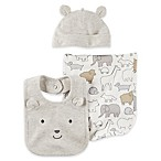 carter's® 3-Piece Animal Hat, Bib, and Burp Cloth Set in Grey