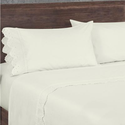 piper u0026 wright eyelet queen sheet set in ivory